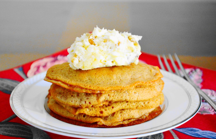 Sweet Potato Pancakes with Walnut Honey Butter