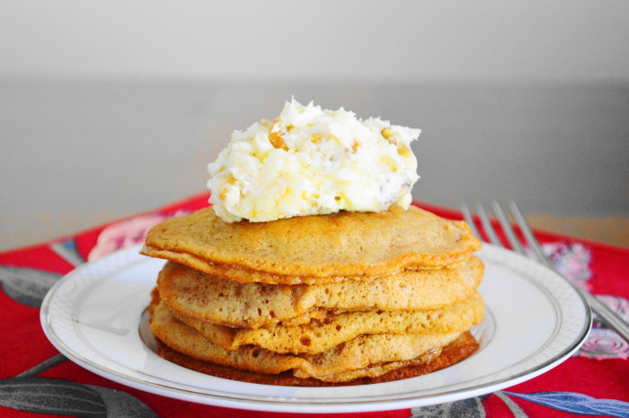 Sweet Potato Pancakes with Walnut Honey Butter