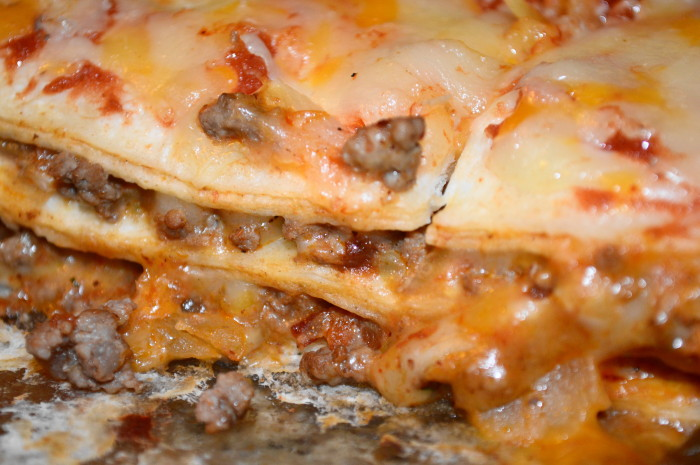 Close up on the yummy Mexican lasagna!