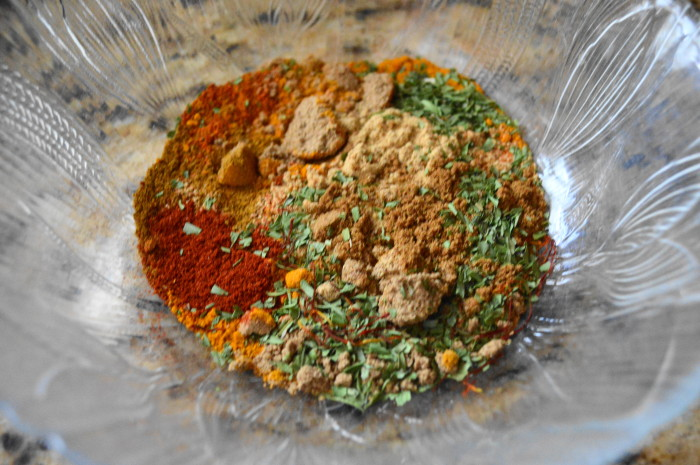 The gorgeous spice mixture, which is the heart of the Moroccan chicken.