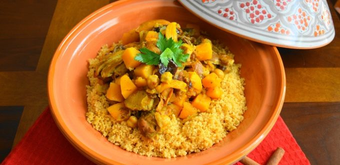Moroccan chicken over couscous