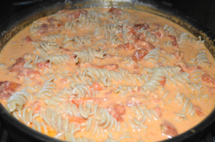 The crabmeat vodka sauce with fusilli all put together and ready to go.