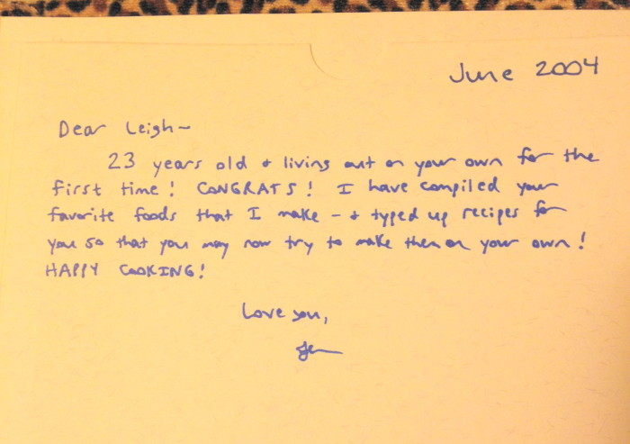 The inside cover of the recipe book my sister put together for me. She's the best!