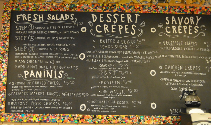 The menu. Buttons serves much more than just crepes!