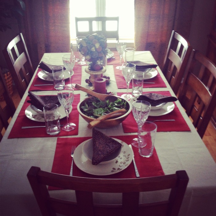 My dining room all set for a wonderful Sunday dinner with the family!