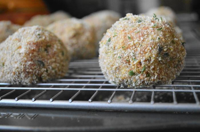 The sicilian style meatballs prepared for the oven.