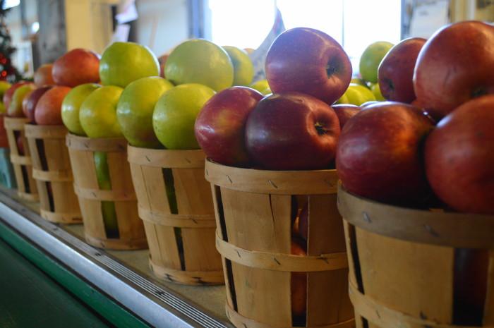 Bushel upon bushel of gorgeous apples at the Trenton Farmer's Market.