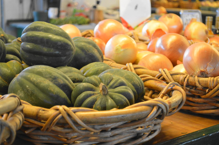 Absolutely gorgeous acorn squash and yellow onions at the Trenton Farmer's Market.