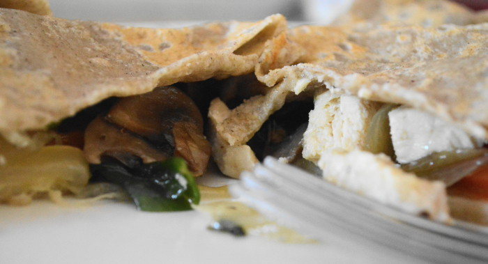 My buckwheat crepe filled with roasted chicken, pepper jack cheese, mushrooms, red pepper and onions. FABULOUS lunch!