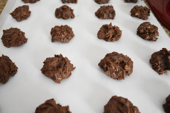 The chocolate peanut butter cookies prepared to bake!