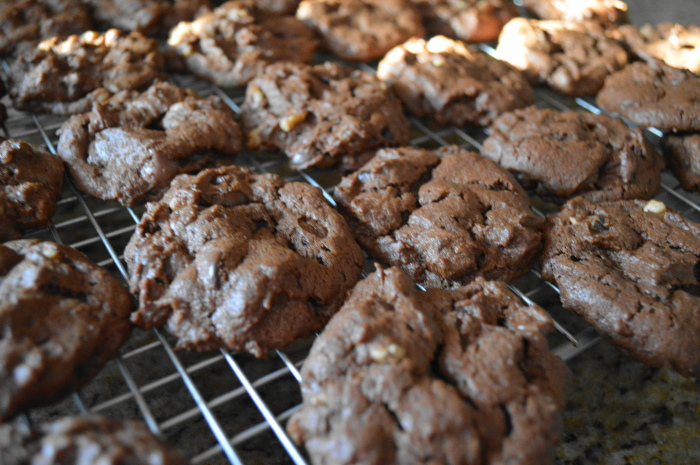 The chocolate peanut butter cookies cooling on the rack.