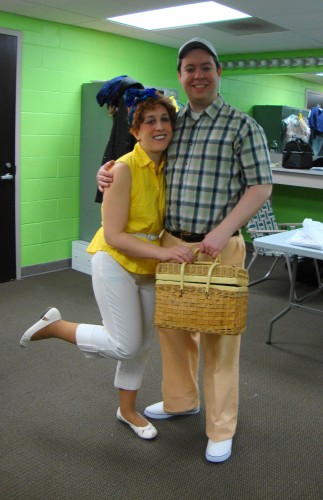 The first ever photo of Marc and I doing Pajama Game with our drama group!