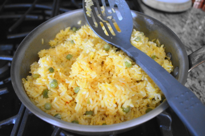 The Spanish style rice all cooked and fluffy.