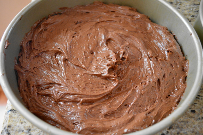 The decadent chocolate peanut butter cake prepared for baking!