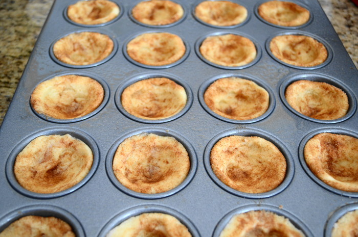 The cute little snickerdoodle cups ready to bake.