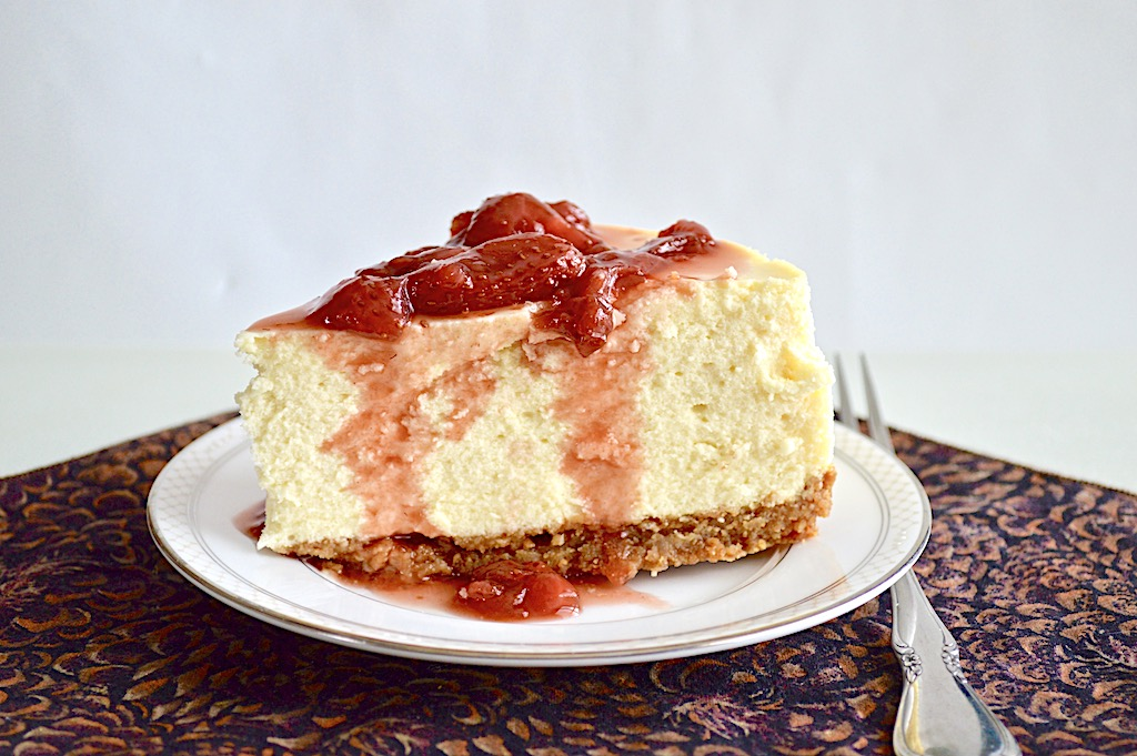 Classic New York Cheesecake with Strawberry Balsamic Sauce