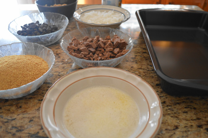 The Stir Me Nots ingredients all laid out and ready to layer!