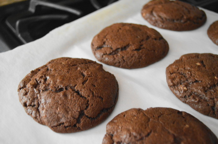 Chocolate hazelnut cookies fresh out of the oven.