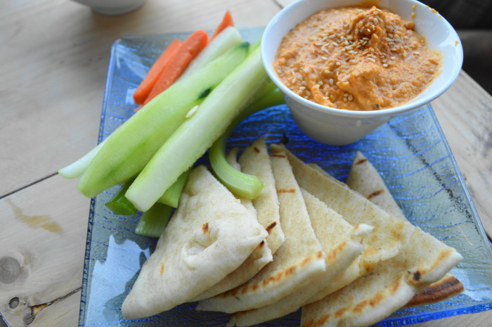 The harissa hummus is so perfectly creamy and flavorful.