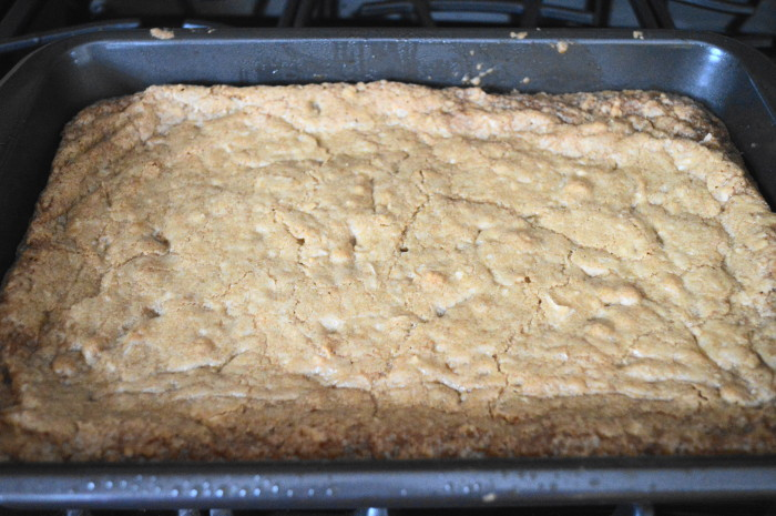 The coconut ginger blondies fresh out of the oven.