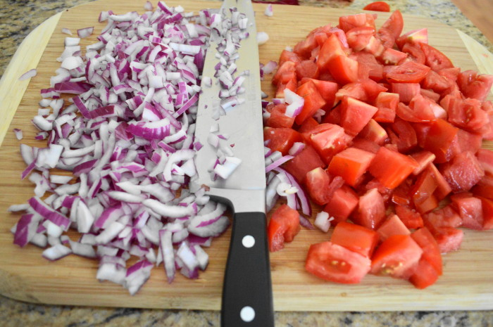 The onions and tomatoes for the Italian pasta salad. It doesn't get much better than Jersey fresh tomatoes!