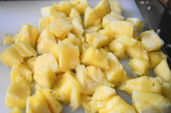 My beautiful chunks of pineapple for the creamy pineapple risotto.