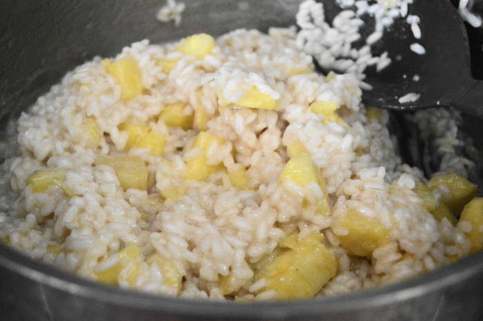 The pineapple risotto all finished on the stove.