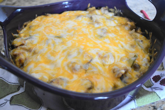 The sausage sweet potato casserole all hot and bubbly right out of the oven.