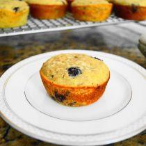 Blueberry yogurt flax muffins