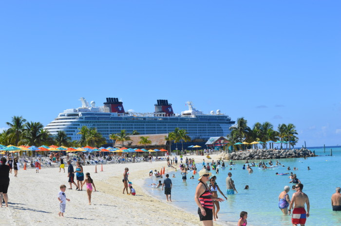 Castaway Cay, with the Disney Fantasy in the background