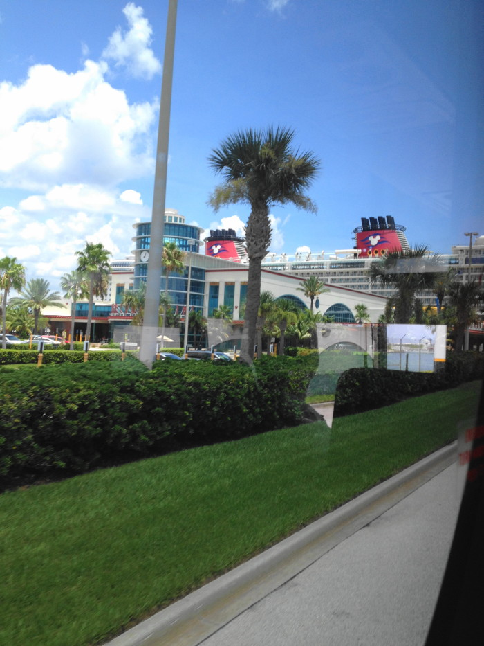 Pulling into Port Canaveral on our bus from Disney World!