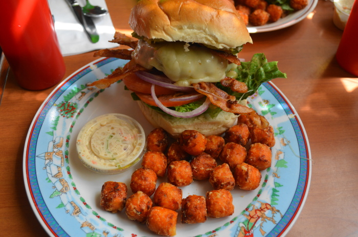 My humungous bacon avocado burger from Shut Up and Eat with those amazing sweet potato tots.
