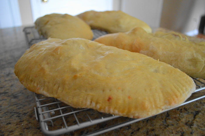 Golden calzones right out of the oven!