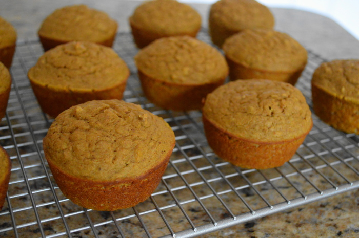 The pumpkin spiced ginger muffins cooling, fresh out of the oven. Good Lord they smelled amazing!