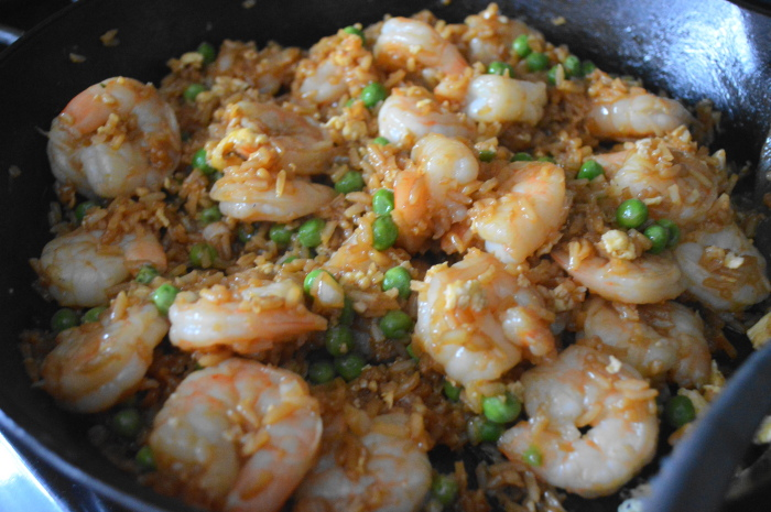 The shrimp fried rice all done in my beloved cast iron skillet.