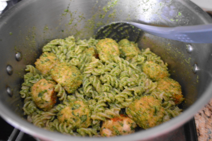 The chicken meatballs all put together with the pesto pasta into one amazing dish.