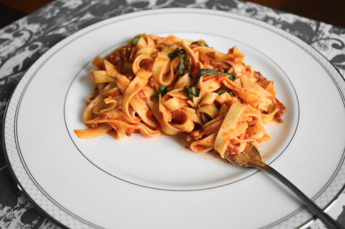 Spiced lamb ragu over fresh mint fettuccine, which is my favorite melding of both my Italian and Lebanese influences.