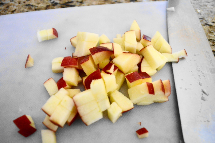 Some of my diced apple for the apple gruyere stuffed mushrooms...with the skin on...because I can be a lazy cook sometimes.