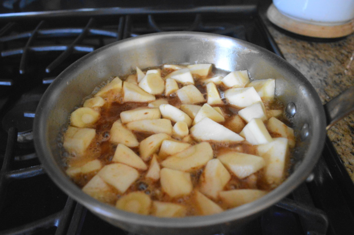 The glazed parsnips cooking away.