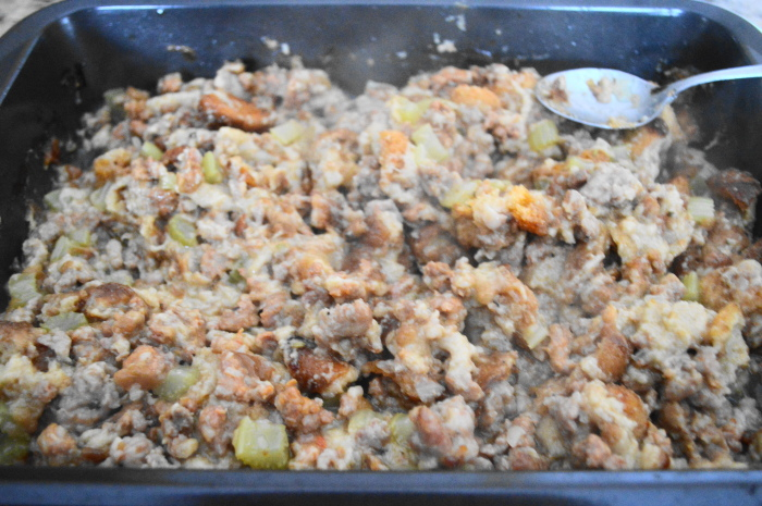The sausage stuffing fresh out of the oven.