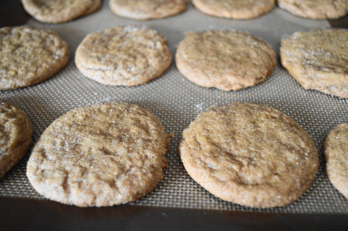The spiced ginger molasses cookies cooling. Oh my gosh, the house smelled incredible when I took them out!