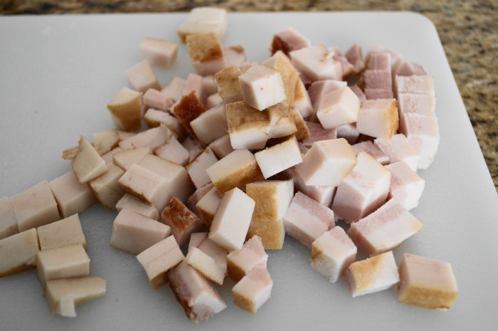 Diced slab bacon forms the foundation of the cheddar bacon beer soup.