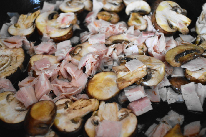 The mushrooms and ham for the Mediterranean frittata cooking away.