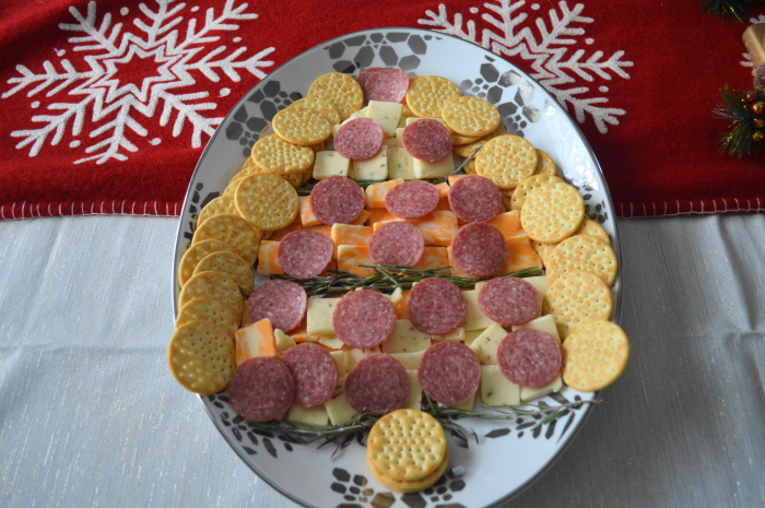 My festive tree shaped cheese platter for the ugly sweater party.