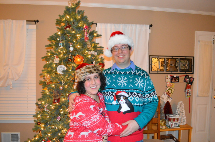 Marc and I in our ugly sweater party best, ready for the fun!