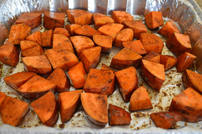 The parmesan balsamic roasted sweet potatoes ready to go into the oven!