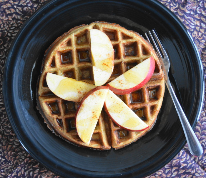 The dressed up apple cinnamon waffles! Fun fact, my Nana Jeanie made the pretty pine cone linen in the background. I love them.