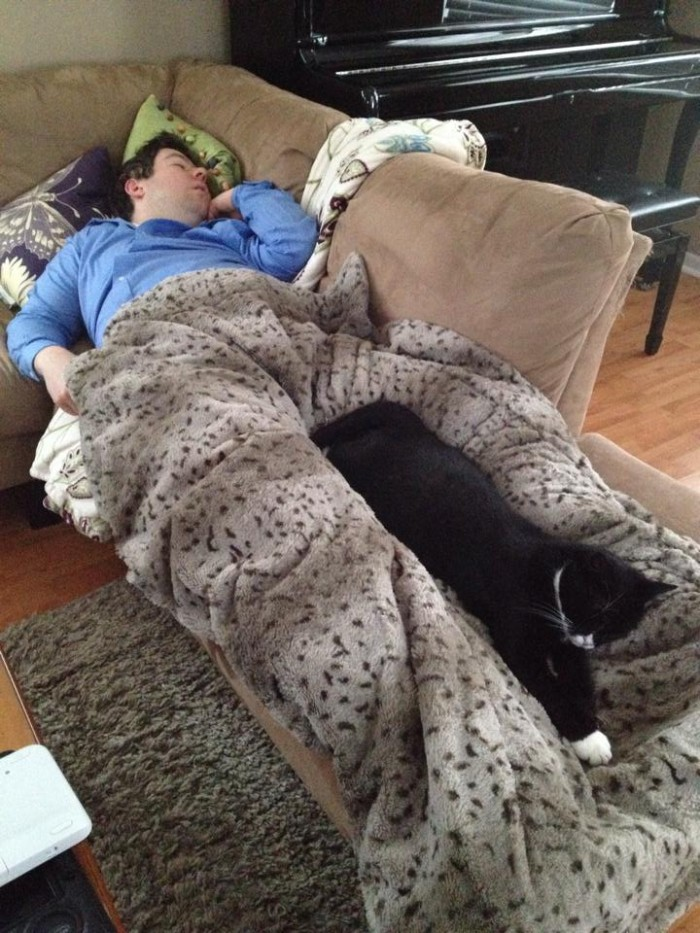 Snowy days mean that Marc and our little Tinkerbell get a well deserved nap together!