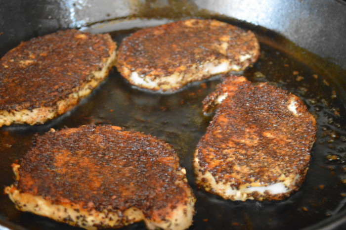 I wanted the pan to be nice and hot to get a perfect brown crust on the outside of the coffee crusted pork chops.