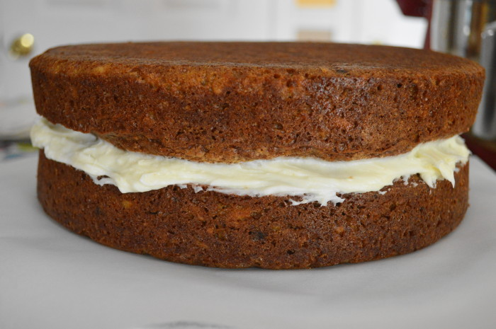 The frosting in the middle holds the two layers of the coconut carrot Easter cake together perfectly. It's a big old beautiful sandwich!